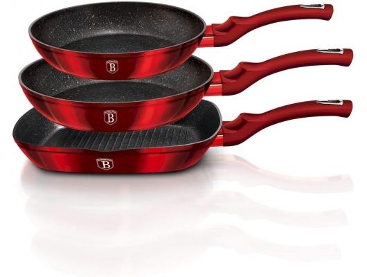 Set tigai, German High Quality, 3 piese, Metallic line – Black Burgundy