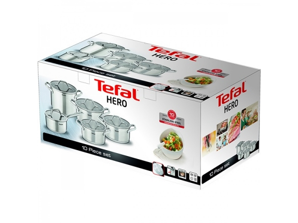 Set vase TEFAL Hero, 10 piese, 1.6-6.4l, 16-24cm, otel inoxidabil, argintiu