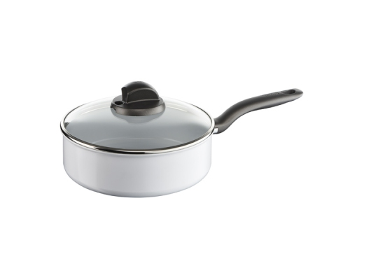 Cratita cu capac TEFAL Ceramic Control Induction C9083252, 24cm, ceramic, alb