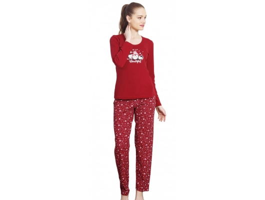 Pijama dama de iarna bordeaux Wonderful, marimi S-XL