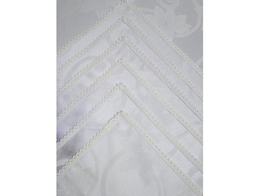 Fata de masa damasc alb 150x350 cu 12 servetele, cu dantela, White Flowers