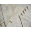 Fata de masa damasc alb 150x350 cu 12 servetele, cu dantela, Ivory Roses