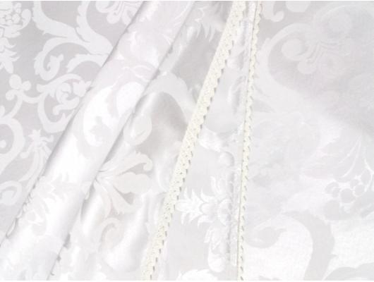 Fata de masa damasc alb,  320x150 cm cu 12 servetele