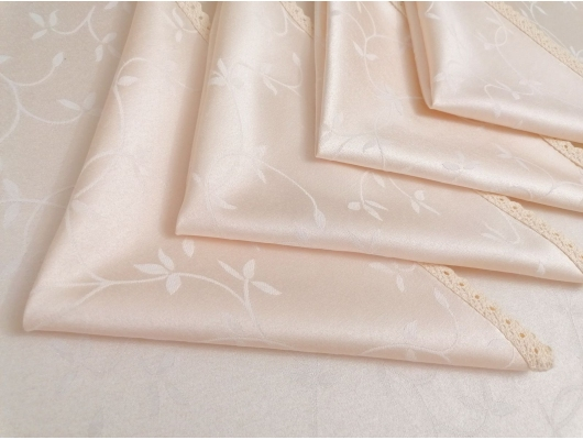 Fata de masa damasc alb 150x350 cu 12 servetele, cu dantela, Frunze de maslin