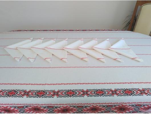 Fata de masa din bumbac 100% cu 10 servetele,  2,4 x 1,5 m, model Traditional2