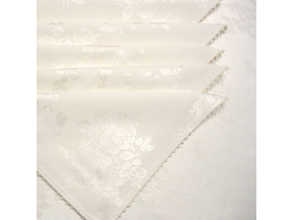 Set fata de masa damasc rotunda de lux diametru 260 cu 12 servetele, cu dantela