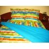 Lenjerie de pat Multicolor Duo Azur CV, 2 persoane, calitate I, gama Lenjerii CriDesign