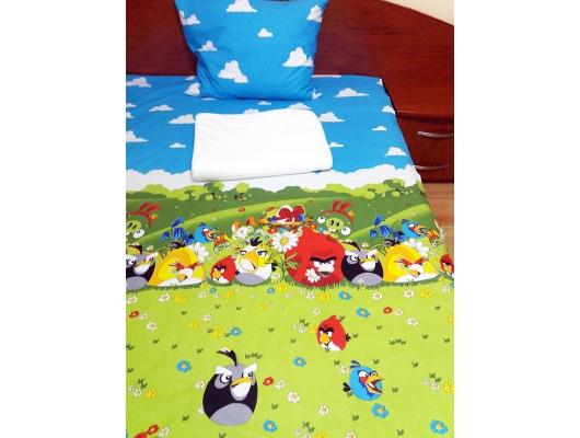 Set lenjerie pat 1 persoana Angry Birds - MW cu patura alba