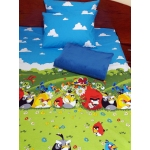 Set lenjerie pat 1 persoana Angry Birds - MB cu patura albastra