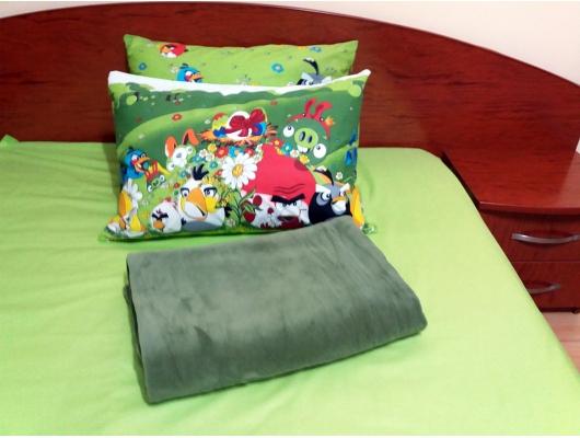 Set lenjerie pat 1 persoana Angry Birds - KV cu patura kaki