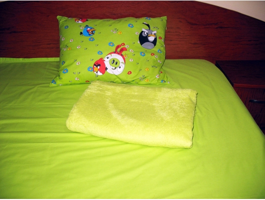 Set lenjerie pat 1 persoana Angry Birds - VL cu patura lime