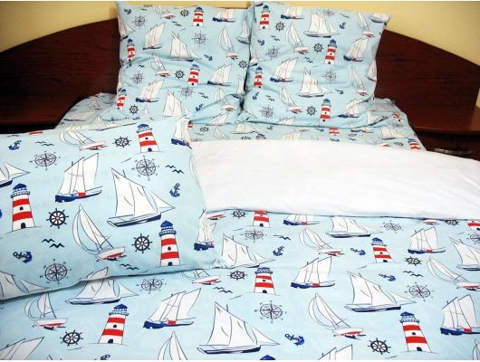 Lenjerie de pat de lux Boat on the sea Duo, 2 persoane, bumbac de calitate I