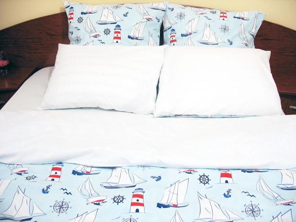 Lenjerie de pat de lux Boat on the sea Duo White, 2 persoane, bumbac calitate I