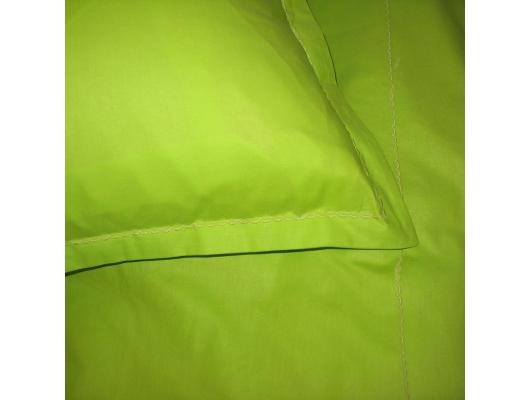Lenjerie de pat din bumbac satinat verde, 2 persoane, cu broderie decorativa