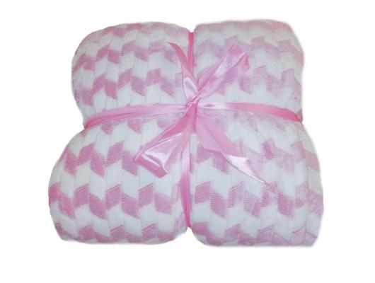 Patura cu blanita, pufoasa si catifelata, roz cu alb, 150x200 cm